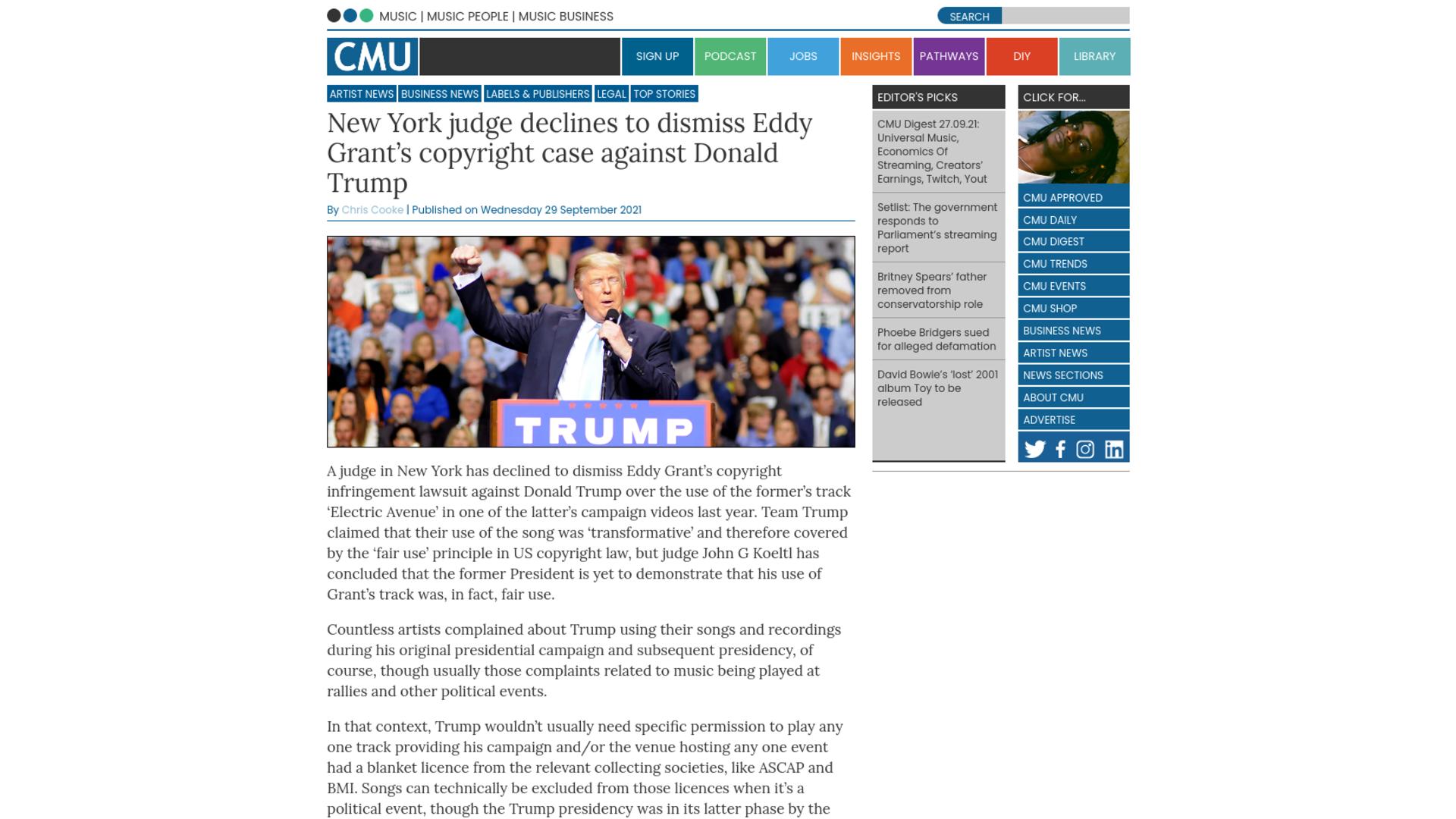 Fairness Rocks News New York judge declines to dismiss Eddy Grant's copyright case against Donald Trump