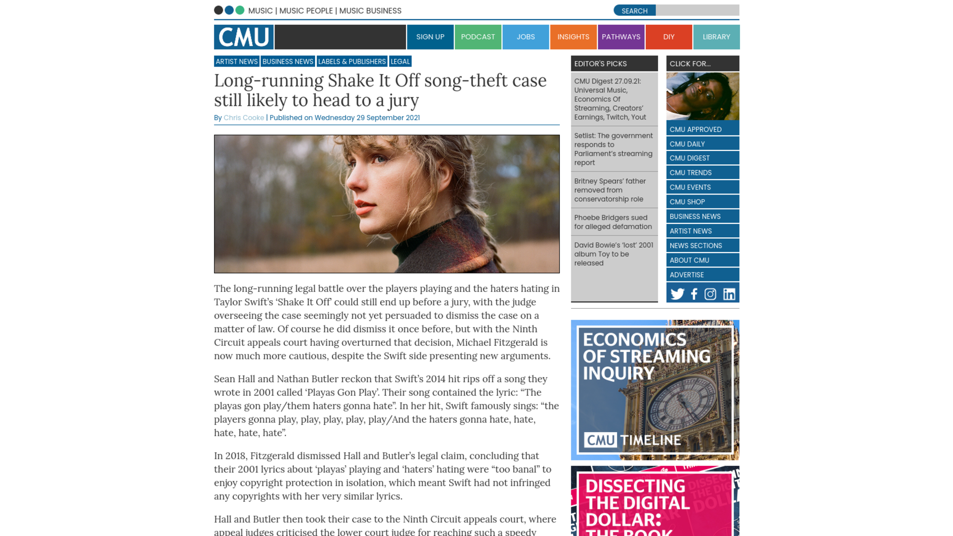 Fairness Rocks News Long-running Shake It Off song-theft case still likely to head to a jury