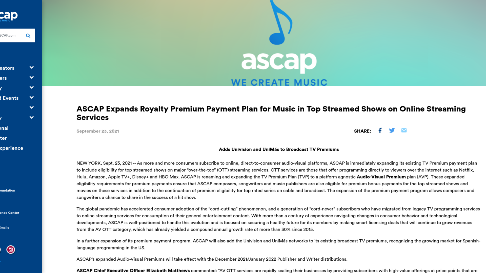 Fairness Rocks News ASCAP Expands Royalty Premium Payment Plan for Music in Top Streamed Shows on Online Streaming Services