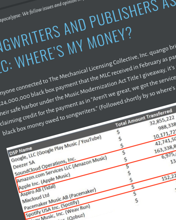 Fairness Rocks News Songwriters and Publishers Ask the MLC: Where's my money?