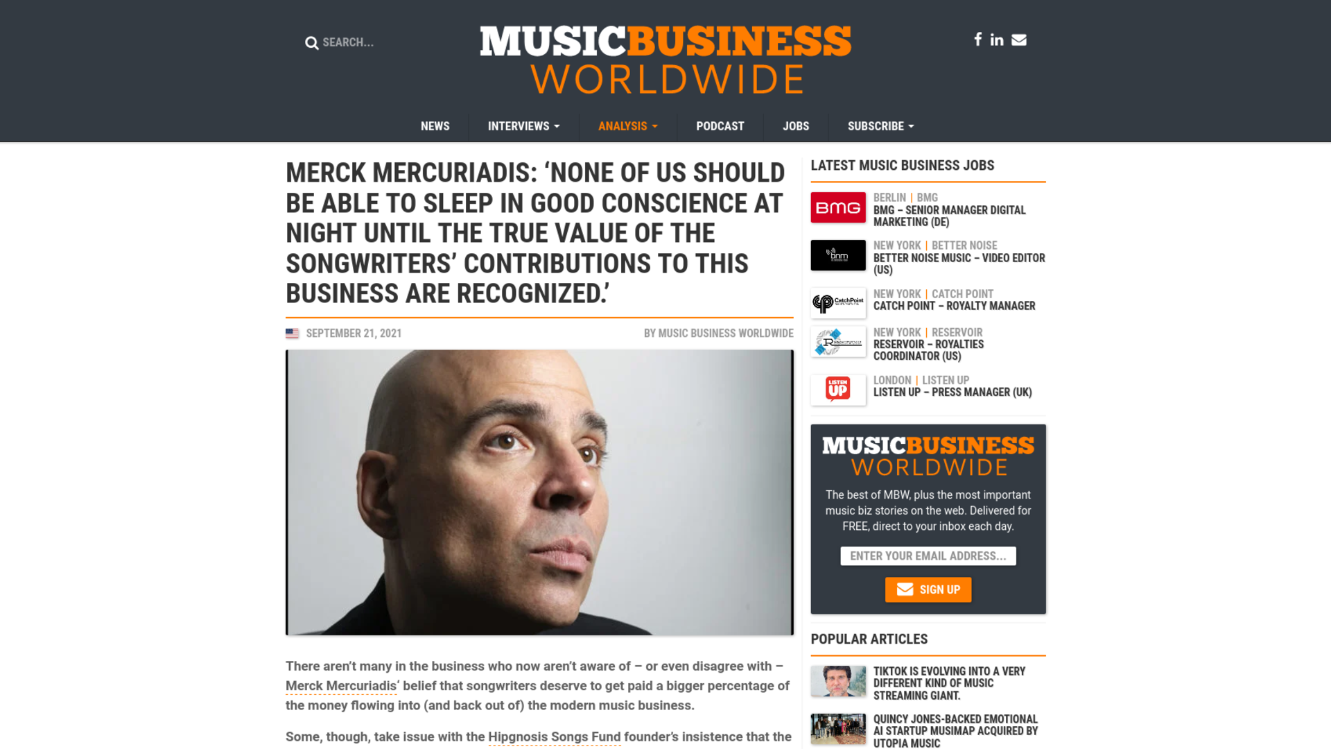 Fairness Rocks News Merck Mercuriadis: 'None of us should be able to sleep in good conscience at night until the true value of the songwriters' contributions to this business are recognized.'
