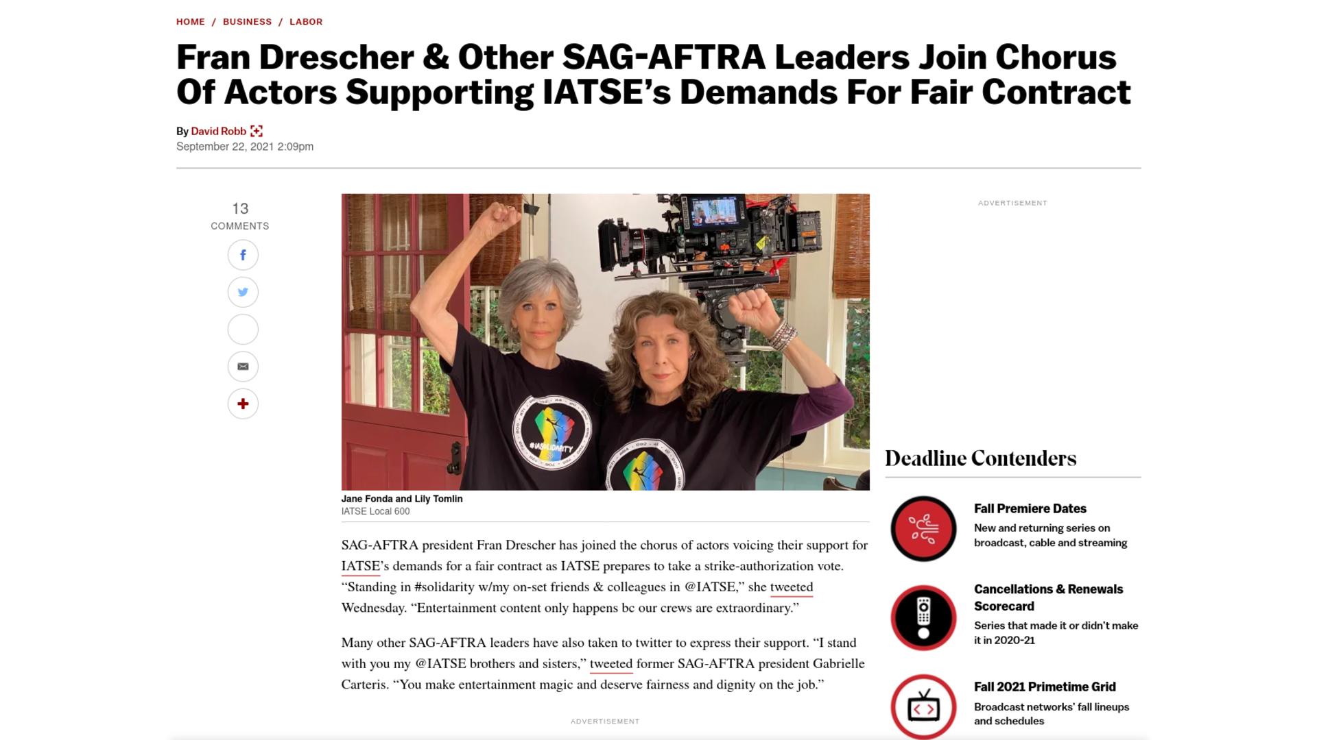 Fairness Rocks News Fran Drescher & Other SAG-AFTRA Leaders Join Chorus Of Actors Supporting IATSE's Demands For Fair Contract