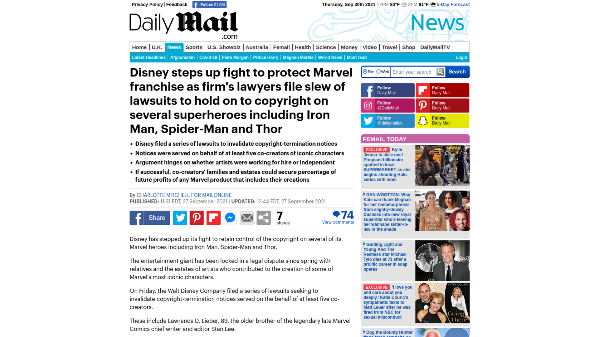 Fairness Rocks News Disney steps up fight to protect Marvel franchise as firm's lawyers file slew of lawsuits to hold on to copyright on several superheroes including Iron Man, Spider-Man and Thor