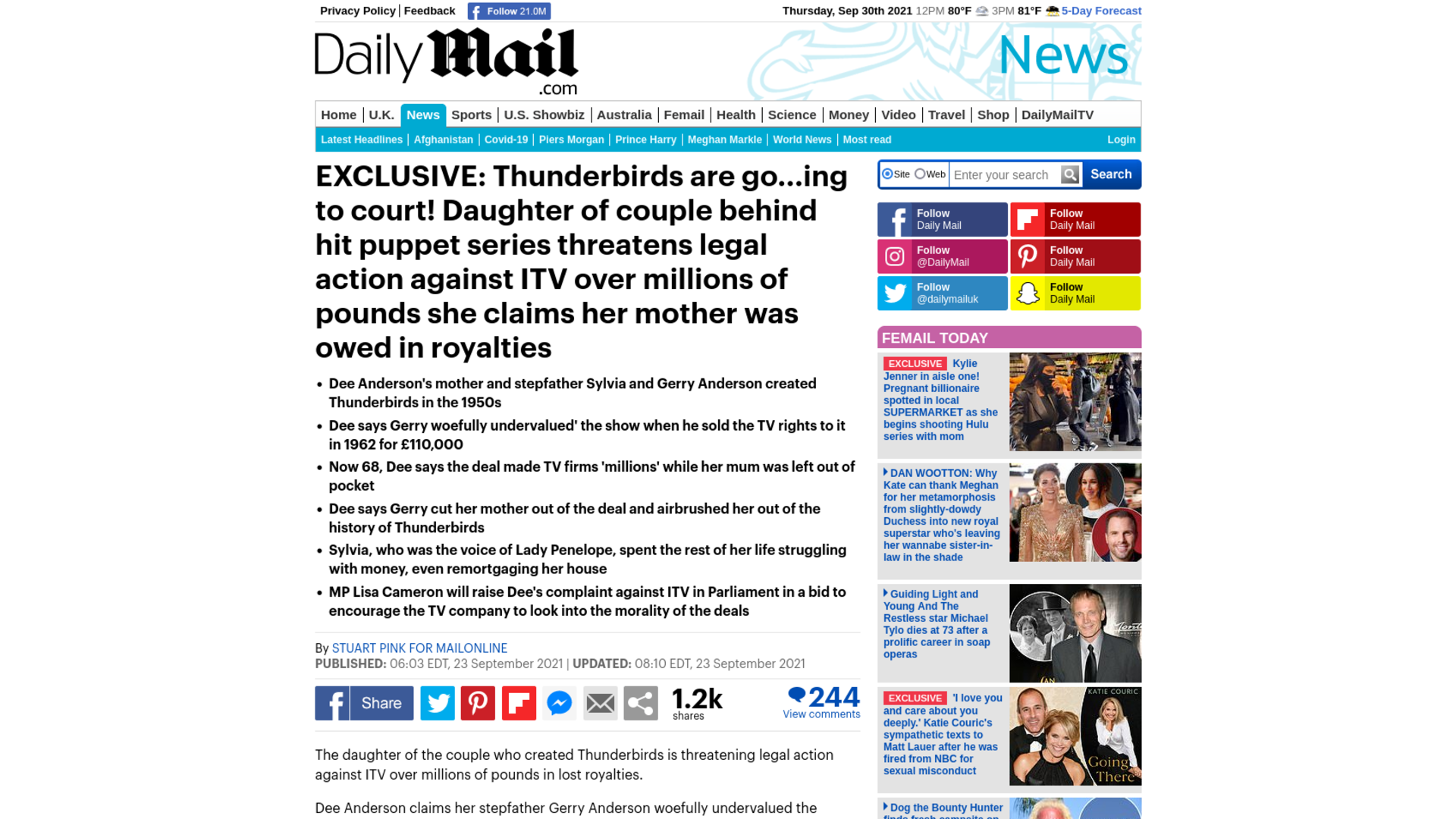 Fairness Rocks News EXCLUSIVE: Thunderbirds are go…ing to court! Daughter of couple behind hit puppet series threatens legal action against ITV over millions of pounds she claims her mother was owed in royalties