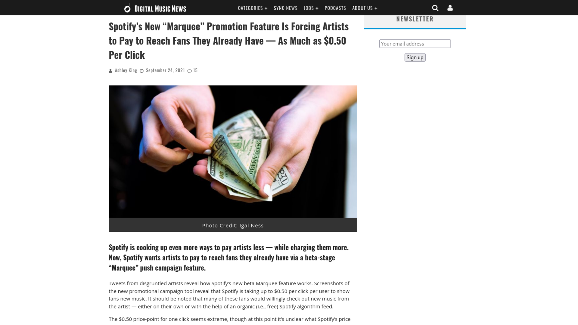 """Fairness Rocks News Spotify's New """"Marquee"""" Promotion Feature Is Forcing Artists to Pay to Reach Fans They Already Have — As Much as $0.50 Per Click"""