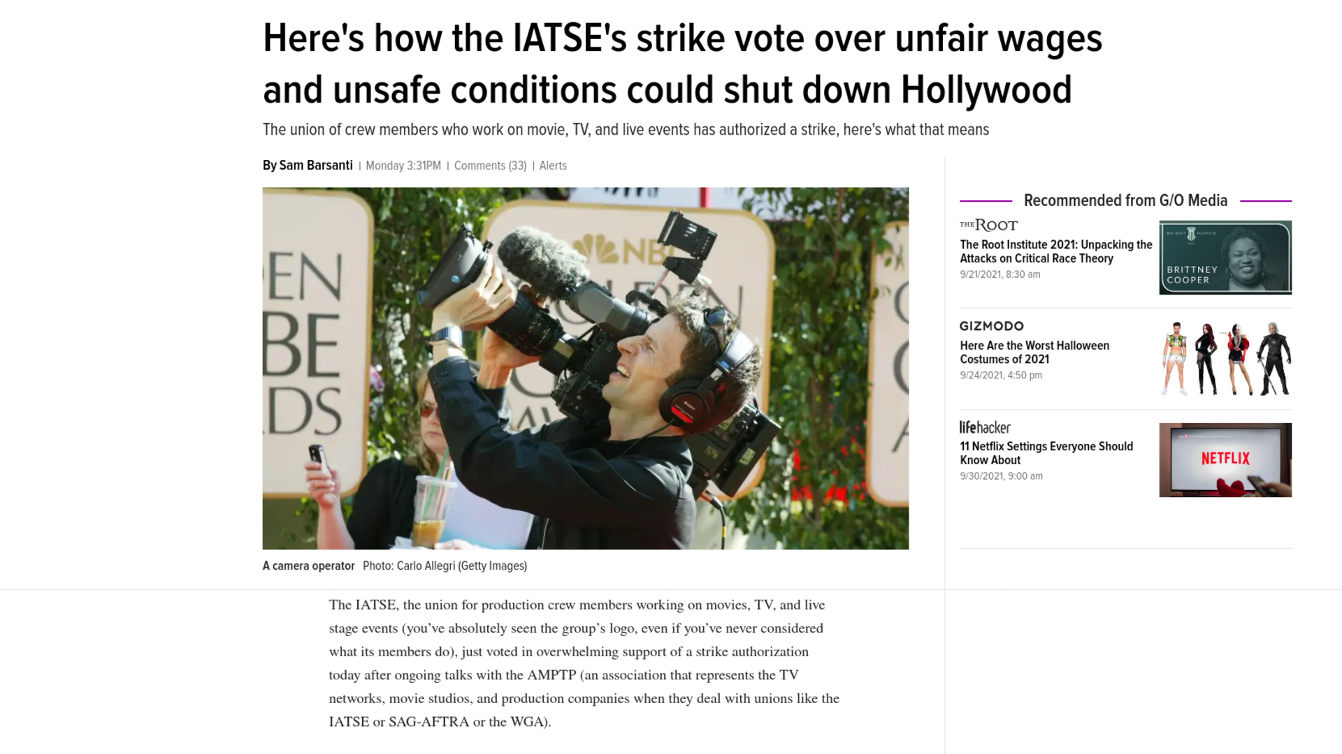Fairness Rocks News Here's how the IATSE's strike vote over unfair wages and unsafe conditions could shut down Hollywood