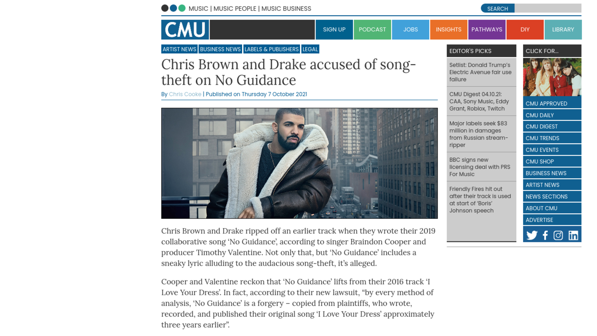 Fairness Rocks News Chris Brown and Drake accused of song-theft on No Guidance