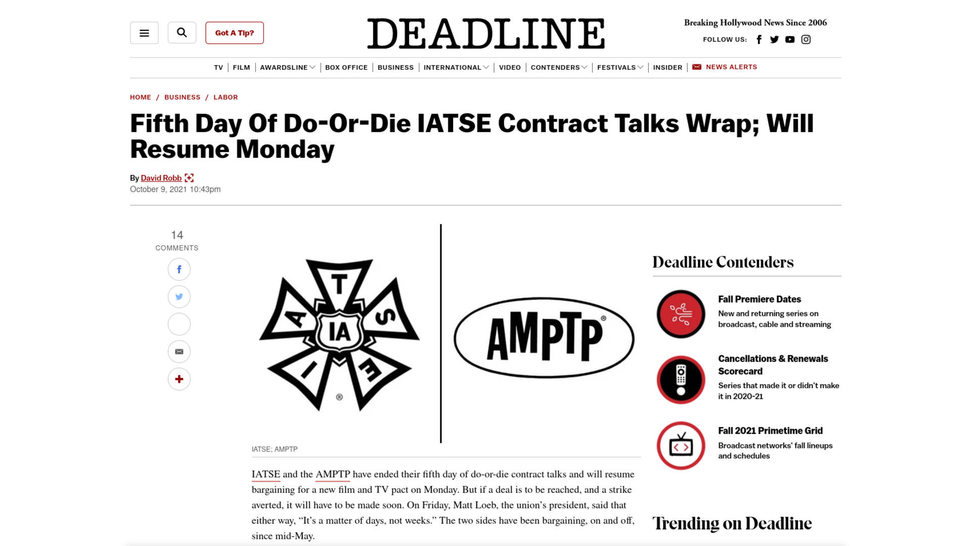 Fairness Rocks News Fifth Day Of Do-Or-Die IATSE Contract Talks Wrap; Will Resume Monday